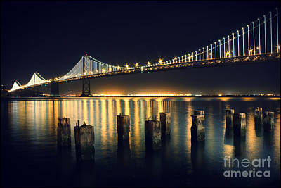 Night Photograph - San Francisco Bay Bridge Illuminated by Jennifer Ramirez
