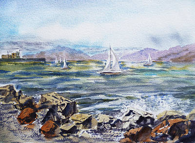 Boats In Water Painting - San Francisco Bay From Richmond Shore Line by Irina Sztukowski