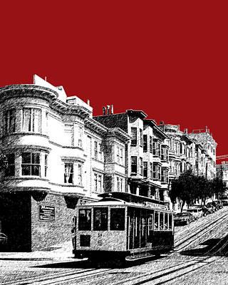 Pen Digital Art - San Francisco Cable Car 2 - Dk Red by DB Artist
