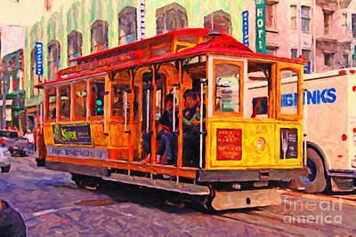 Bay Area Digital Art - San Francisco Cable Car - Photo Artwork by Wingsdomain Art and Photography