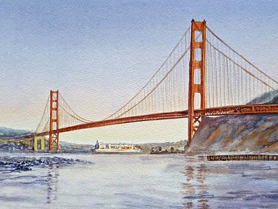 San Francisco California Golden Gate Bridge Print by Irina Sztukowski