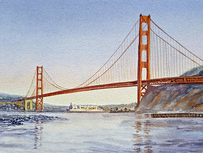 Restaurant Decor Painting - San Francisco California Golden Gate Bridge by Irina Sztukowski