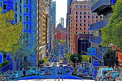 San Francisco Financial District Digital Art - San Francisco California Street 7d7187 20130505v1 by Wingsdomain Art and Photography