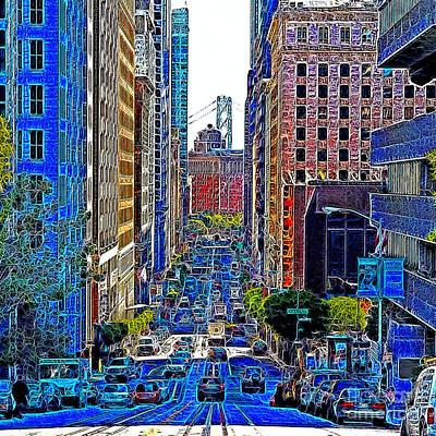 San Francisco Financial District Digital Art - San Francisco California Street 7d7187 20130505v3 Square by Wingsdomain Art and Photography