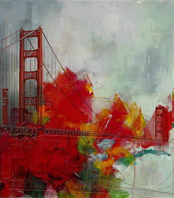 Fog Painting - San Francisco City Collage by Corporate Art Task Force