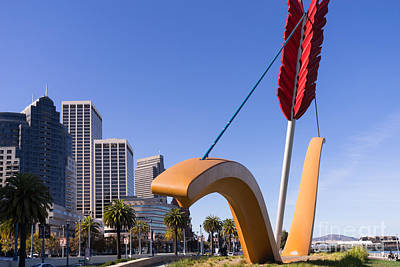 San Francisco Cupids Span Sculpture At Rincon Park On The Embarcadero Dsc1929 Print by Wingsdomain Art and Photography