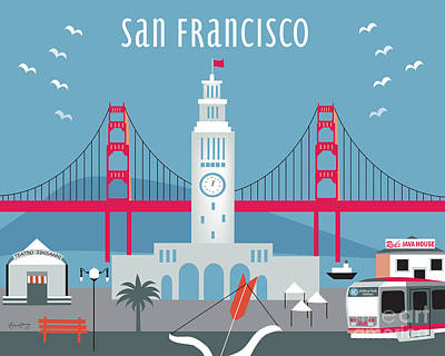 San Francisco Ferry Building Print by Karen Young
