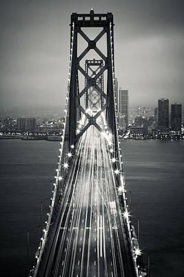 Suspension Photograph - San Francisco - Oakland Bay Bridge Bw by Adam Romanowicz