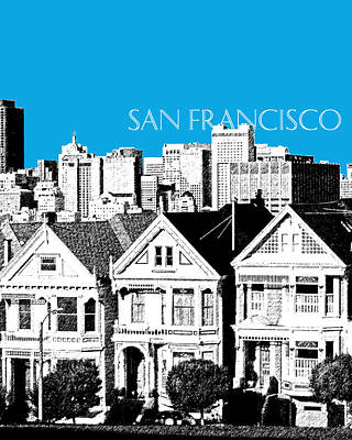 San Francisco Skyline Alamo Square - Ice Blue Print by DB Artist