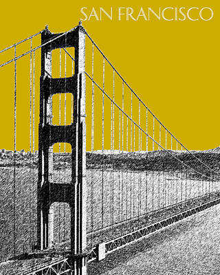 Pen Digital Art - San Francisco Skyline Golden Gate Bridge 1 - Gold by DB Artist