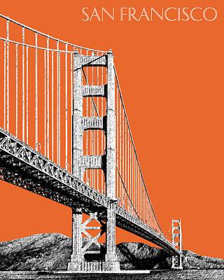 Mid-century Modern Decor Digital Art - San Francisco Skyline Golden Gate Bridge 2 - Coral by DB Artist