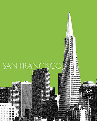 Pen Digital Art - San Francisco Skyline Transamerica Pyramid Building - Olive by DB Artist