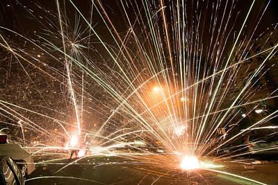 San Francisco Street Photograph - San Francisco Street Fireworks by Leland D Howard