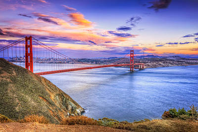 Sausalito California Photograph - San Francisco Sunset And The Golden Gate Bridge From Marin Headlands by The  Vault - Jennifer Rondinelli Reilly