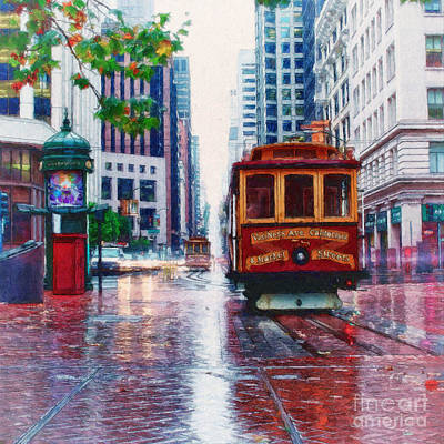 Abstract Beach Landscape Digital Art - San Francisco Trolley Car by Shawna Mac