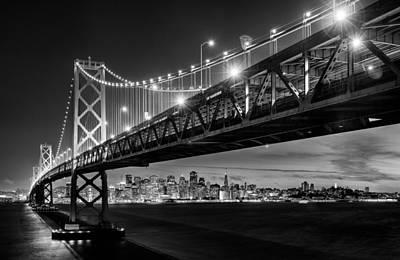 Pyramids Photograph - San Francisco - Under The Bay Bridge - Black And White by Alexis Birkill