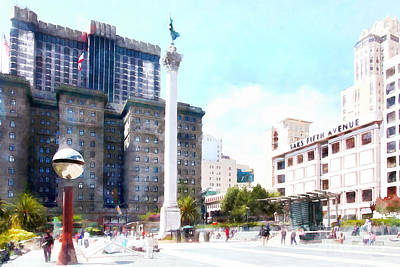San Francisco Union Square 5d17933wcstyle Print by Wingsdomain Art and Photography