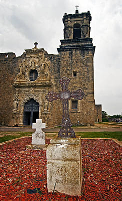 Andy Crawford Photograph - San Jose Mission Crosses by Andy Crawford