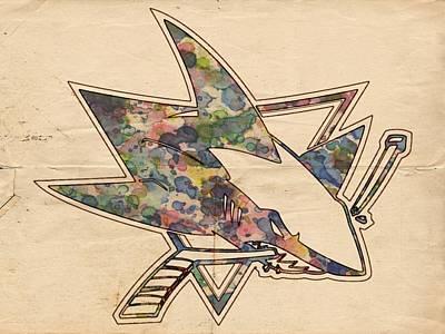 Goaltender Painting - San Jose Sharks Hockey Poster by Florian Rodarte