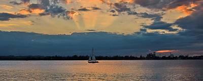 San Juan Bay Sunset And Sailboat Print by Ricardo J Ruiz de Porras