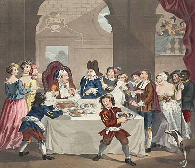 Sancho At The Feast Starved Print by William Hogarth