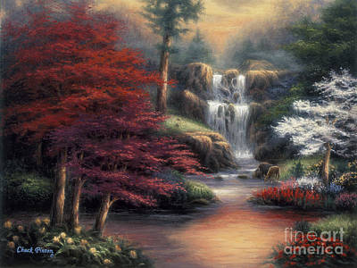 Waterfalls Painting - Sanctuary by Chuck Pinson