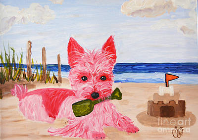 Sand Castles Painting - Sand Castle Pink Pampered Pooch by Christine  Dekkers
