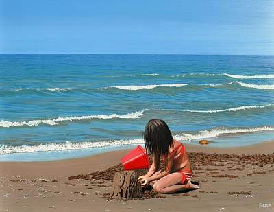 Sand Castles Painting - Sand Castles by Kenneth M  Kirsch
