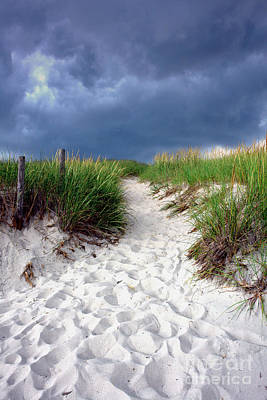 Footprints Photograph - Sand Dune Under Storm by Olivier Le Queinec