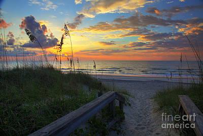 Sand Dunes On The Seashore At Sunrise - Carolina Beach Nc Print by Wayne Moran