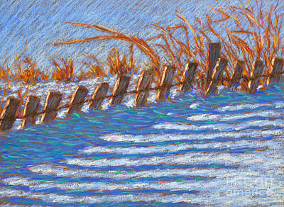 Fencing Painting - Sand Fence Winter by Bryan Allen