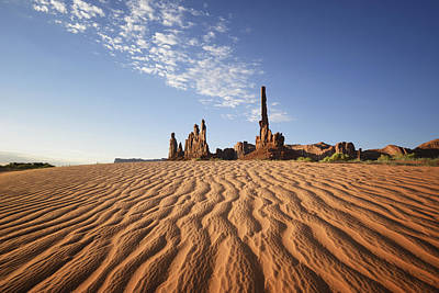 Sand Ripples And Rock Formationmonument Print by Peter Carroll