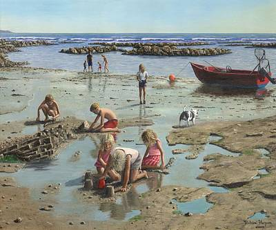 Sand Castles Painting - Sandcastles by Richard Harpum