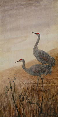 Wildfire Painting - Sandhill Cranes by Floy Zittin