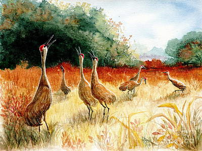 Crane Painting - Sandhill Serenade by Marilyn Smith
