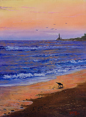 Wet On Wet Painting - Sandpiper At Sunset by C Steele