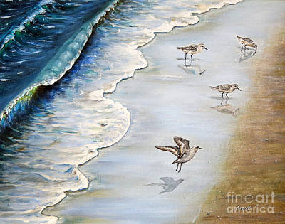 Sandpiper Painting - Sandpipers On The Beach by Zina Stromberg