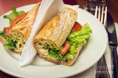 Lettuce Photograph - Sandwish On Table by Carlos Caetano