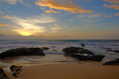 Sandy Beach Sunrise 3 - Oahu Hawaii Print by Brian Harig