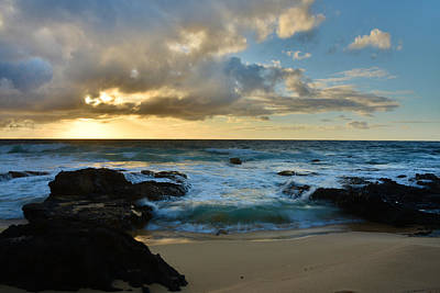 Outdoor Photograph - Sandy Beach Sunrise 5 - Oahu Hawaii by Brian Harig