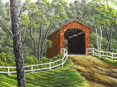Covered Bridge Painting - Sandy Creek Covered Bridge by Don Bowling
