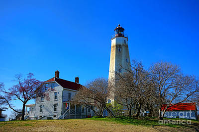 Sandy Hook Lighthouse And Keepers Quarters Print by Olivier Le Queinec