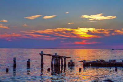 Sandy Hook Sunset Print by Geraldine Scull
