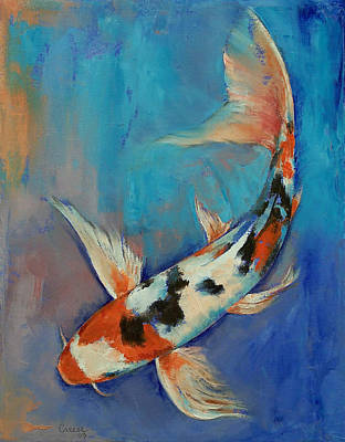 Koi Fish Painting - Sanke Butterfly Koi by Michael Creese