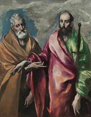 Stencil Art Painting - Sant Pere I Sant Pau by Celestial Images