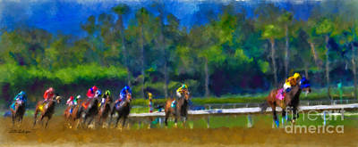 Horse Purse Painting - Santa Anita Races by Andrea Auletta