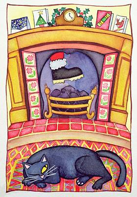Santa Arriving Down The Chimney Print by Cathy Baxter