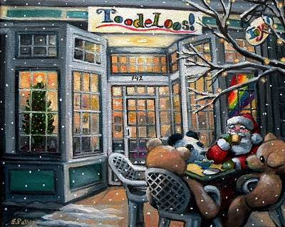 Santa At Toodeloos Toy Store Print by Eileen Patten Oliver