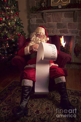 Fireplace Photograph - Santa Checking His List by Diane Diederich