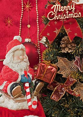 Santa Claus And Christmas Gift Original by Sviatlana Kandybovich